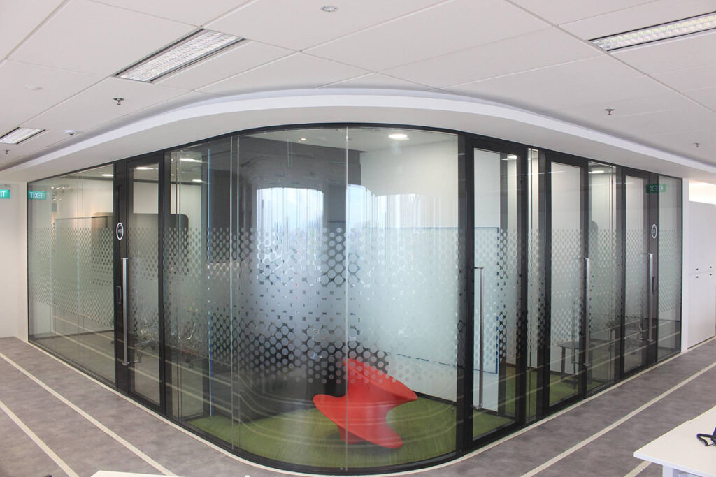 Curved Glass Partition
