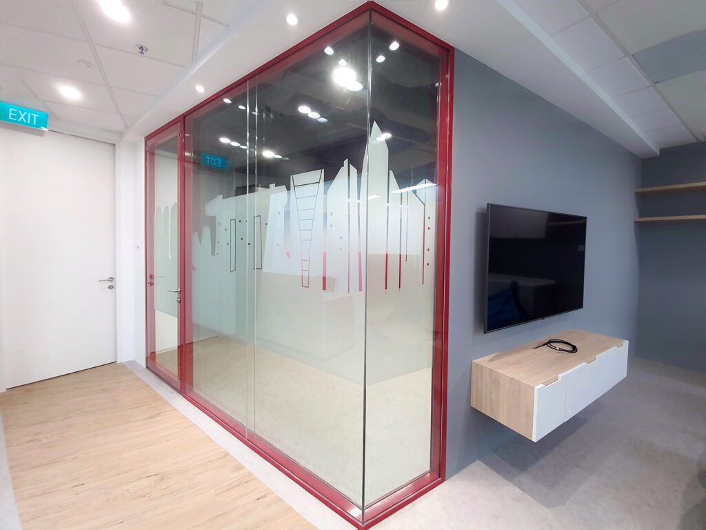 Glass Partition Frame in Customised Colour