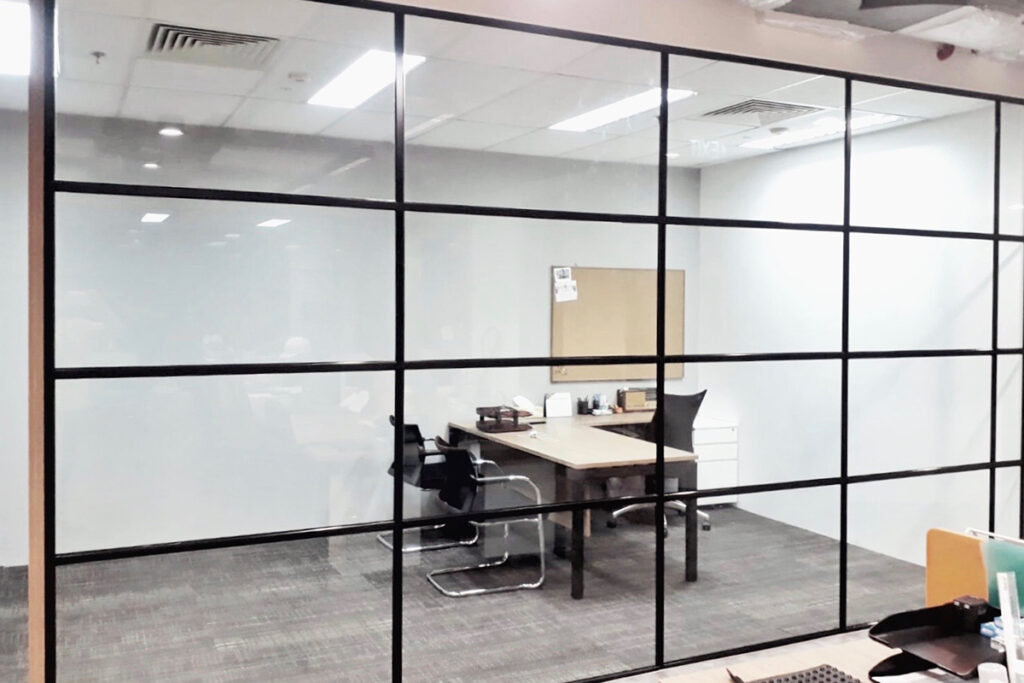 Glass Partition with Transom Design